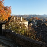 Autumn colours decorate the scene in and around the village of Dilopho in Zagori