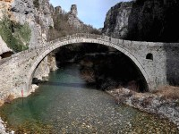 Kokkoros single arch traditional stone bridge in Zagori, Epirus