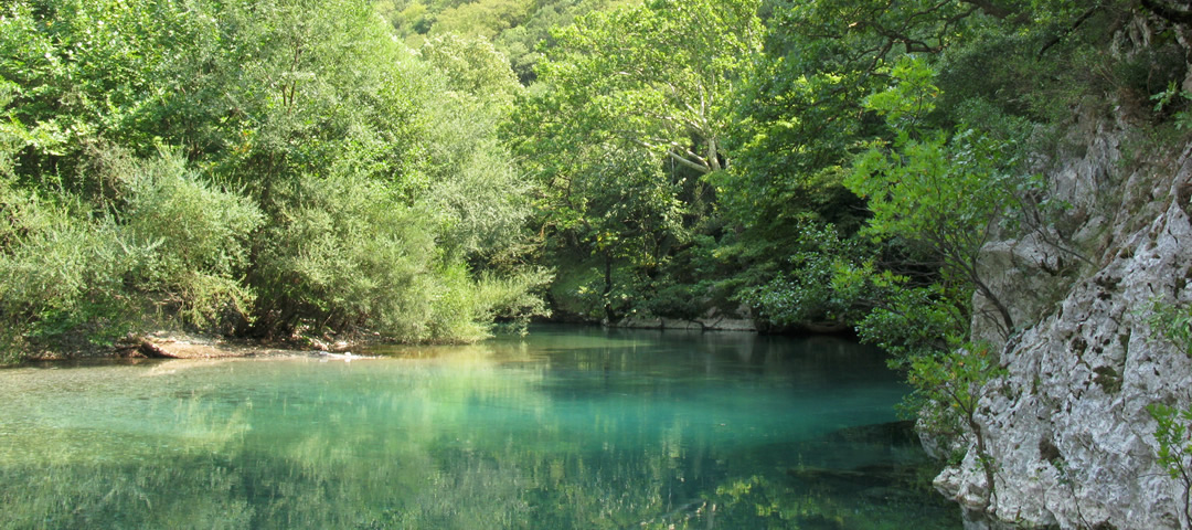 Voidomatis river running through the Gorge of Vikos in the National Park of Vikos-Aoos in Greece