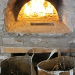 The wood fired oven is almost ready to bake the bread