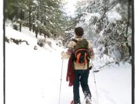 Snowshoeing on thick ice on a snow white trek around the village of Kipoi