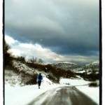 A winter athlete running at minus 5°C on the road that connects Kato Pedina and Aristi village in Zagori