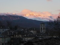 Winter colours during sunset. The snow capped mountain is Tymphe in the National Park of Vikos-Aoos in Epirus, Greece