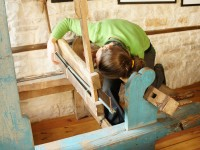 The first step in setting up the old traditional loom in Kato Pedina village in Zagorochoria, Greece