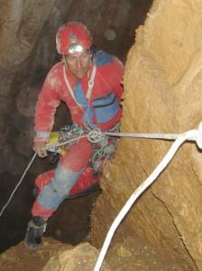 Manolis Diamantopoulos in a 70m gulch near Kapesoovo village | Spelaeology