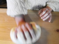 Kneading the dough with the hands