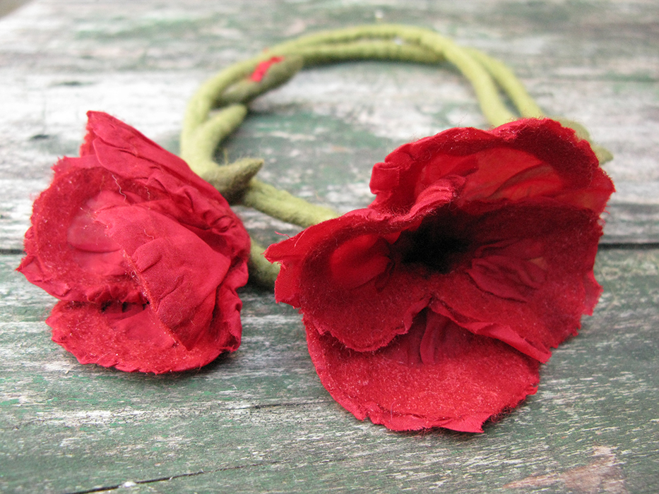 Handmade felt poppies, Zagori region, Greece
