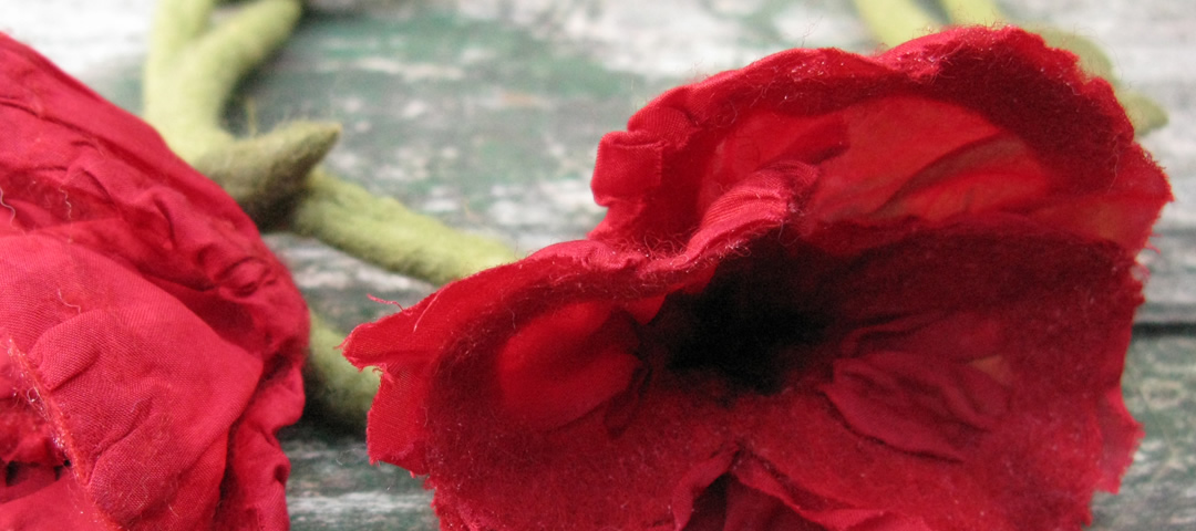 Handmade poppies out of felt, Zagori, Greece