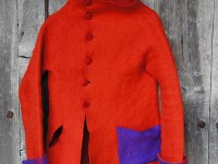 Handmade red felt jacket | Felt seminars in Greece