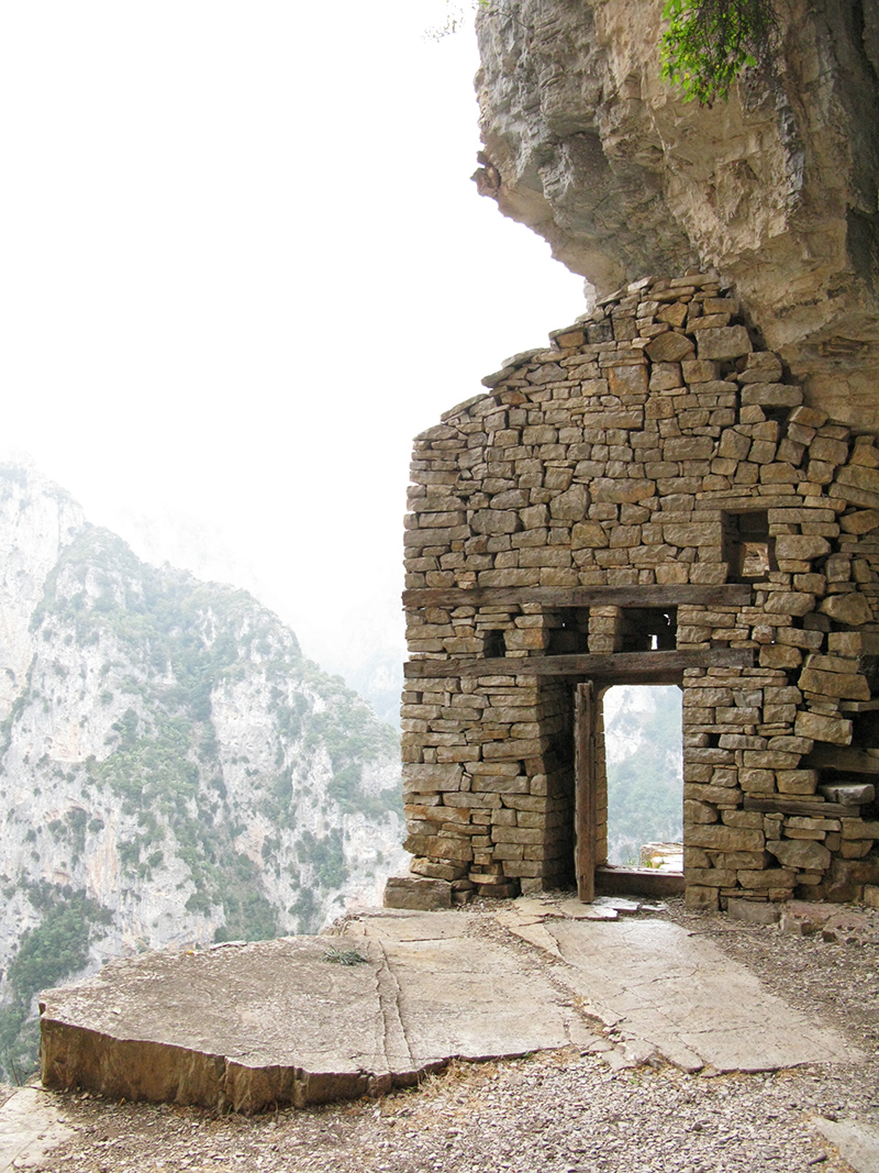 The caves in the middle of the rough side of Vikos north and east of the monastery of Ag. Paraskevi in Monodendri, where hermits and persecuted Christians sought refuge during Ottoman times