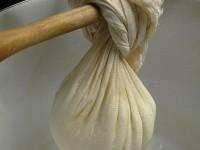 Draining the cheese   Learn how to make home made (feta) cheese   Zagori, Pindus, Greece