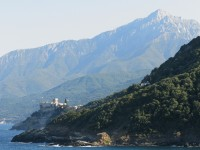 A monastery by the sea in Mount Athos, Greece