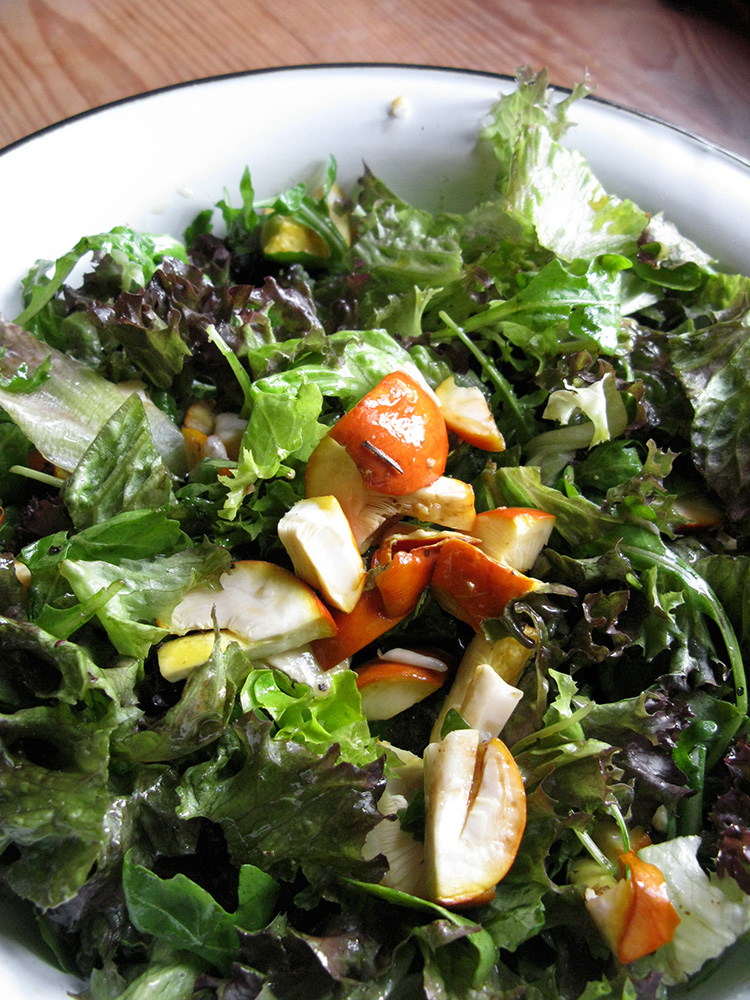 Amanita caesarea sliced and added to an Italian type green salad sprinkled with salt, olive oil, crushed black pepper and artisanally produced balsamic vinegar of Modena in the Zagori region in Epirus, Ioannina, Greece