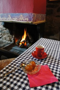 Dessert by the fireplace at Lithos restaurant in Zagorohoria