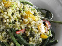 Home grown string beans salad with tabbouleh, red and yellow peppers and other ... interesting ingredients
