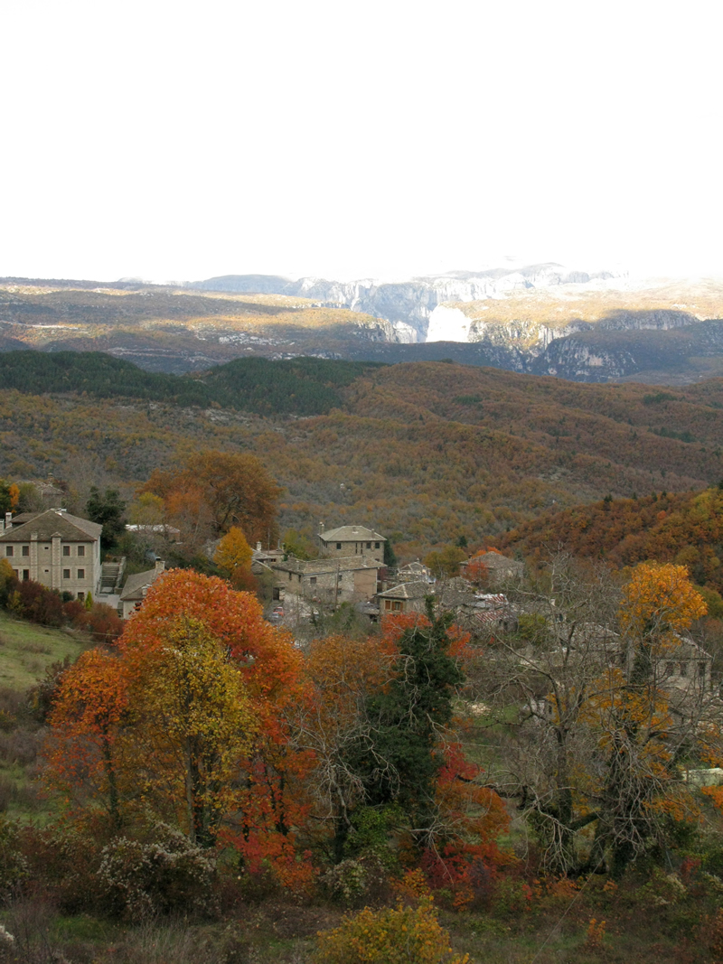 View of Elati village and the gorge of Vikos