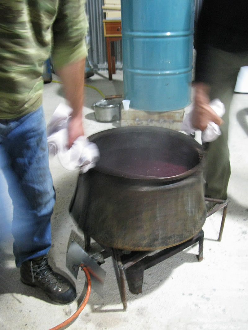 The remains of the grape mass are thrown away or used as a fertilizer after the distillation of tsipouro here in Zagorohoria, Greece