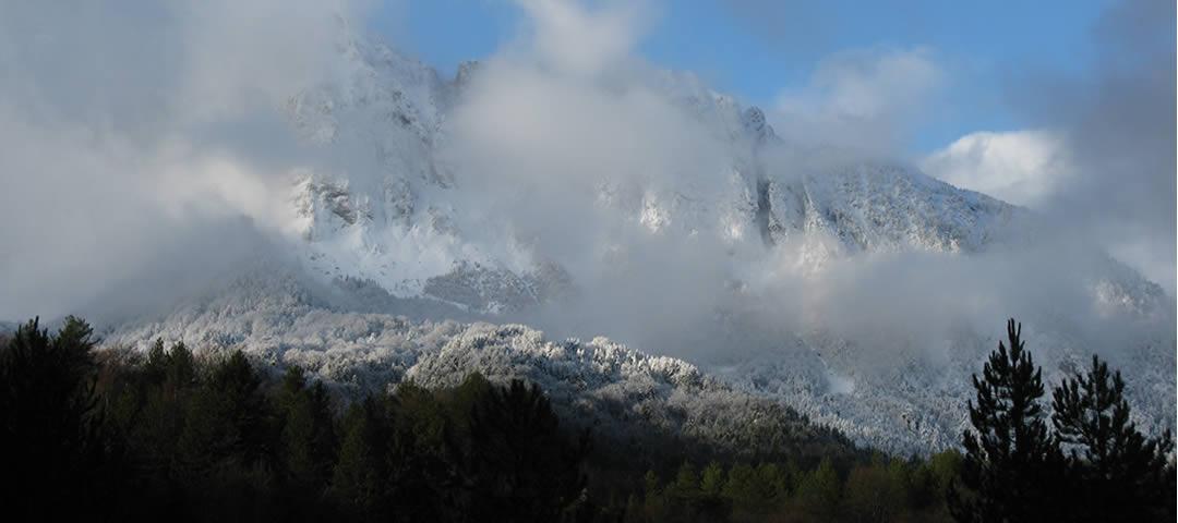 Tsouka rossa peak above Brysochori village in Zagori, Greece