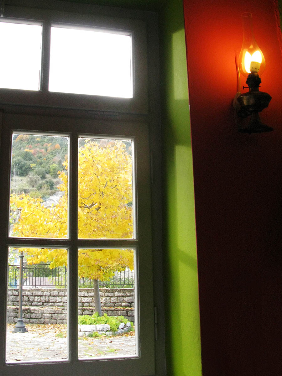 Autumn in Kato Pedina and the tavern at the square of the village