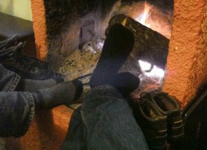 "By the fireplace of Mesochori tavern, also known as ""Vaggelio"", in Kato Pedina village in Zagori, Greece"