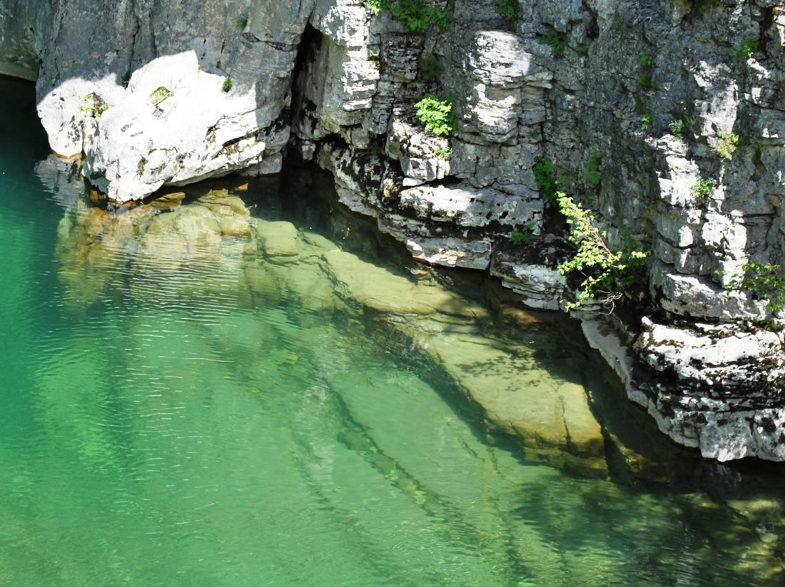 The crystal clear water of the river Voidomatis in Vikos gorge