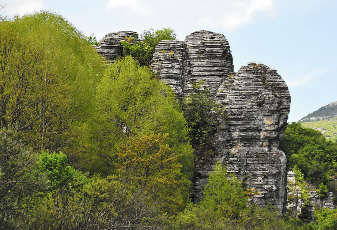The stone forest near Oxia viewpoint in Vikos gorge is only a few minutes away from the villages of Monodendri and Vitsa