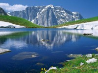 Dracolimni alpine lake in Mount Tymfi