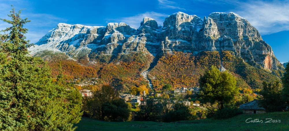 Papigo village in late fall. The Astraka towers above are snow capped | Photographs of Zagori and Vikos-Aoos National park