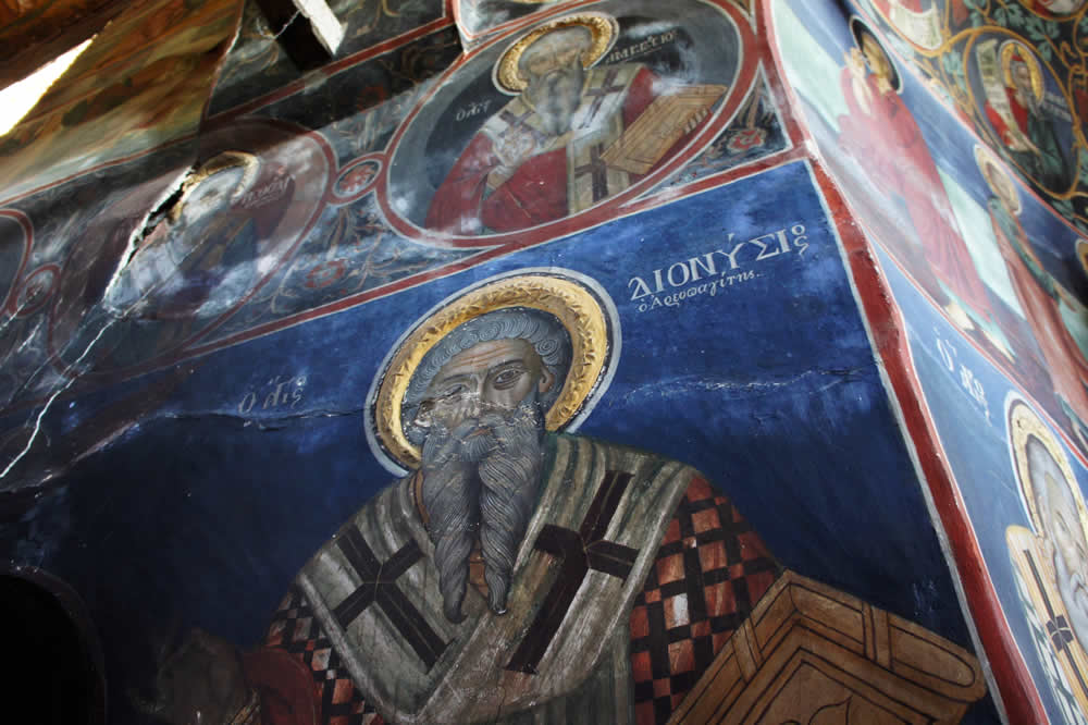 A mural of Saint Dionysius the Areopagite in St. George Byzantine church in Negades, Epirus, Greece