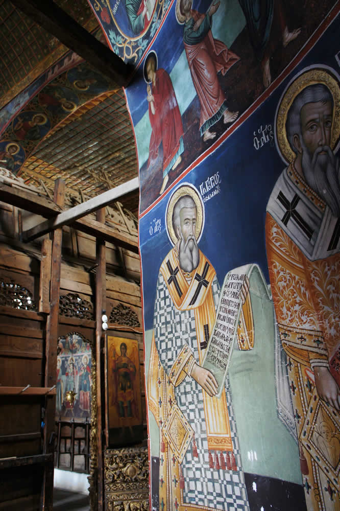 View of the chancel of St. George Byzantine church in Negades, Epirus, Greece