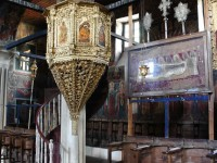 The pulpit in St. Georges church in Negades was carved out of wood and dressed with gold sheet