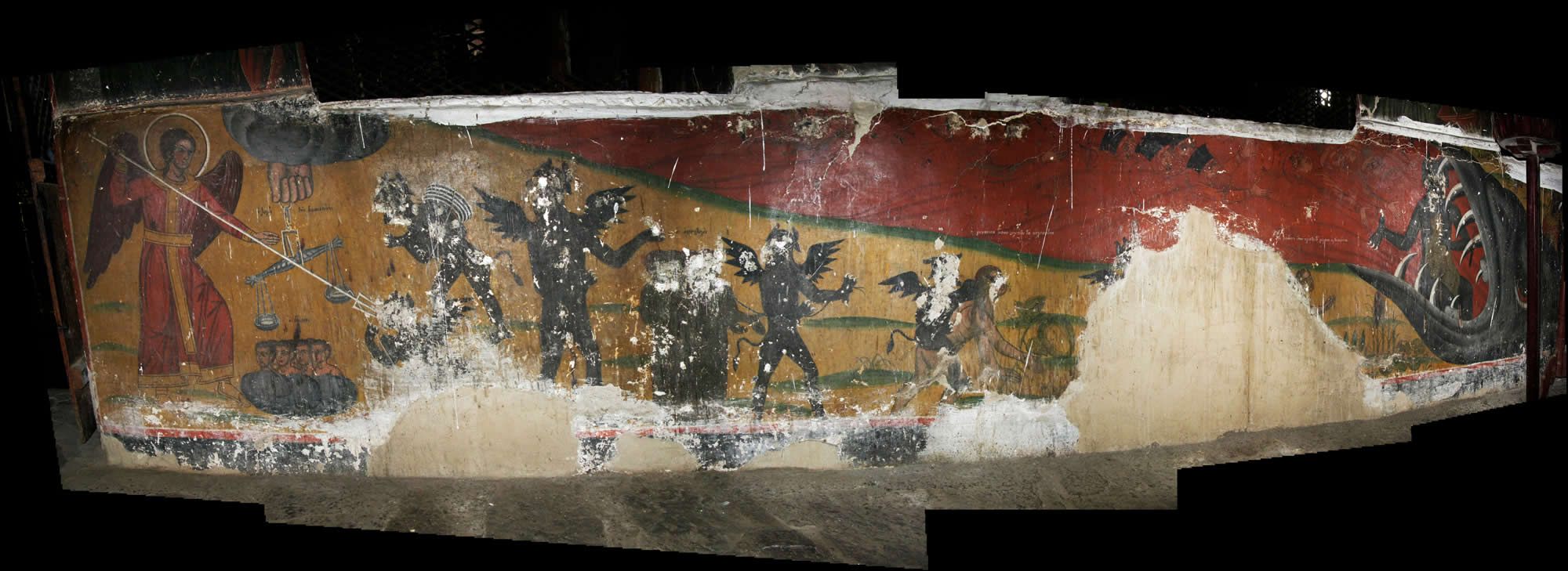 Mural in the gynaeceum (womens quarters): the scale of righteousness ... (the righteous on the left hand side, the sinners on the right hand side) ... the woman that steals zucchini ... the woman that steals cabbage or leeks ... the clergy ... and the Scribes and Pharisees ... all end up in the mouth of the monster of Hades!