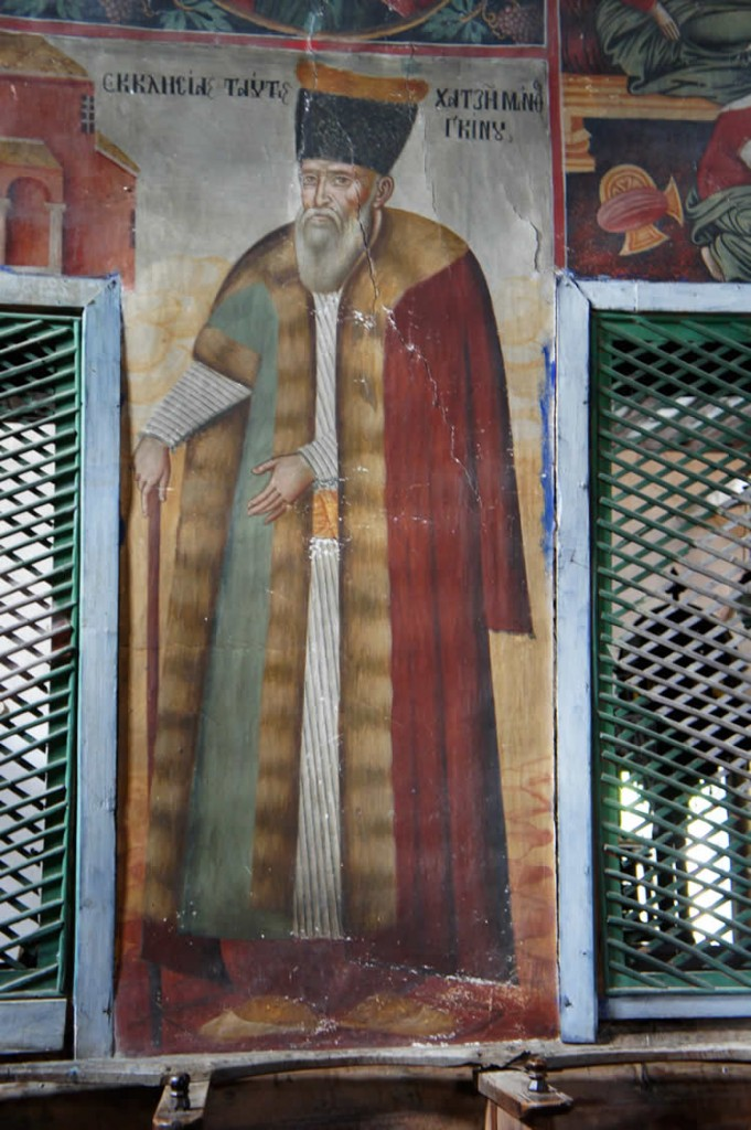 The benefactor of the Triune Church of St. George in Negades, Zagori, was merchant Hatzimanthos Ginou