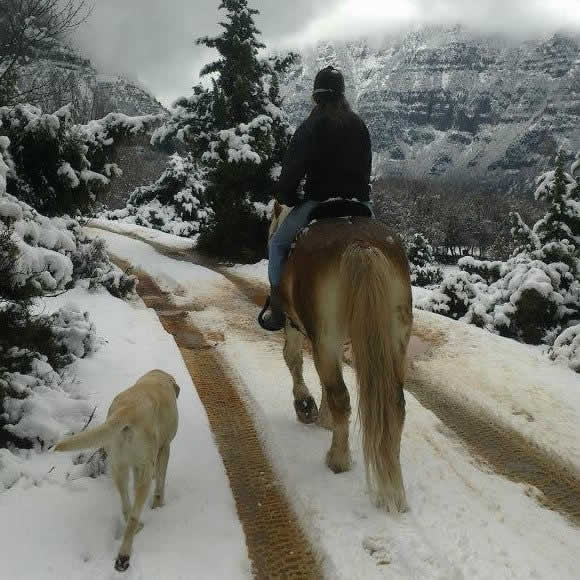 Horse riding in Megalo Papigo under the peaks of Tymfi mountain in the National Park of Vikos-Aoos