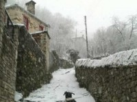 Snow covered traditional stone villages in the Zagori