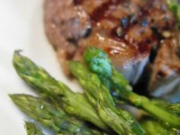 Wild asparagus and steak from local Zagori stock