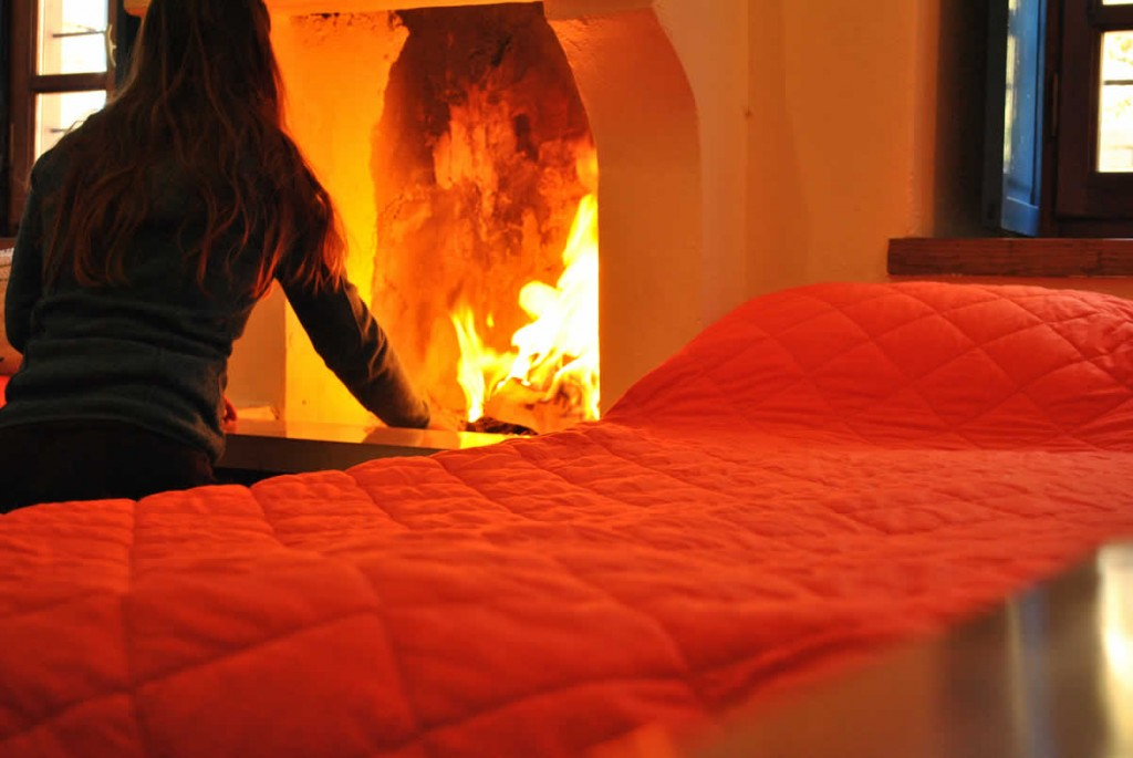 The fireplace is always lit in Rokka guesthouse and agrotourism in the Zagori region