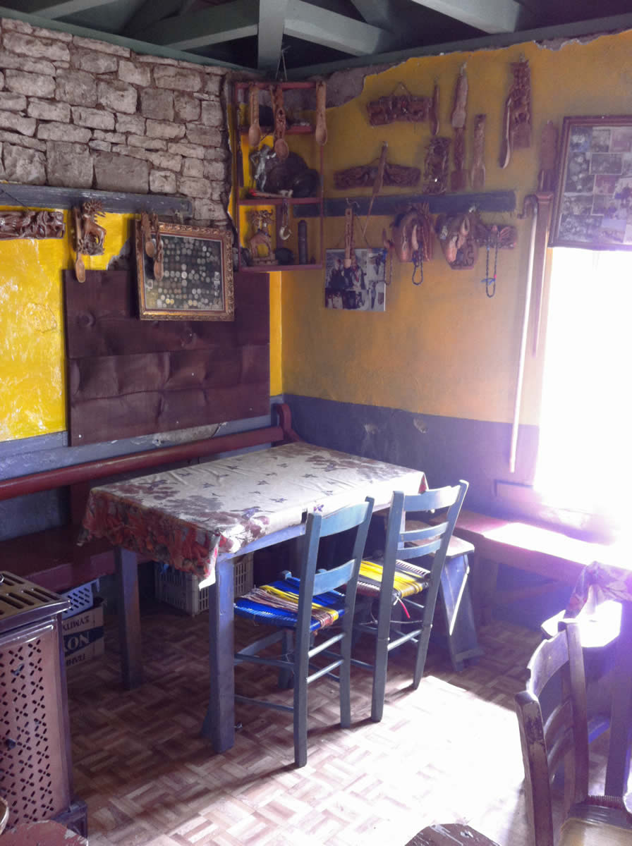 the small room of the traditional kafeneion in elafotopos, zagorochoria