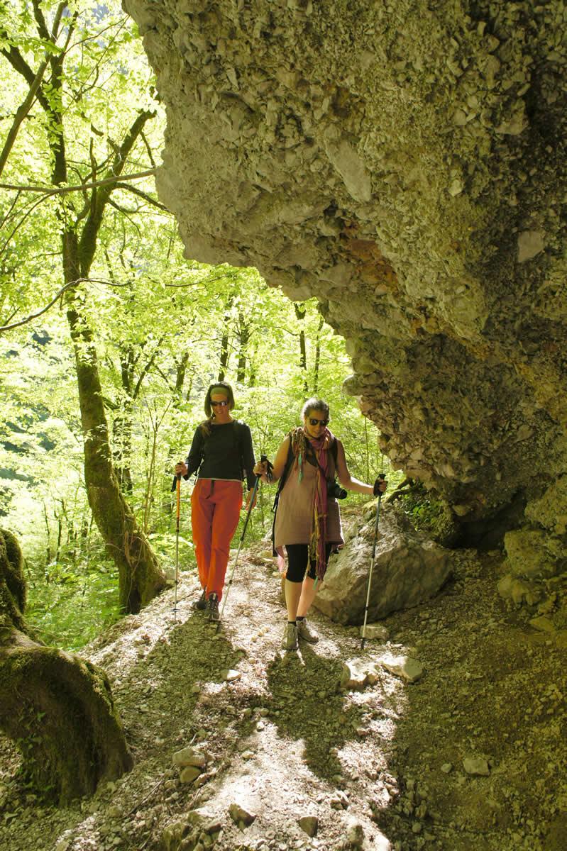 Walking under a rock shelter