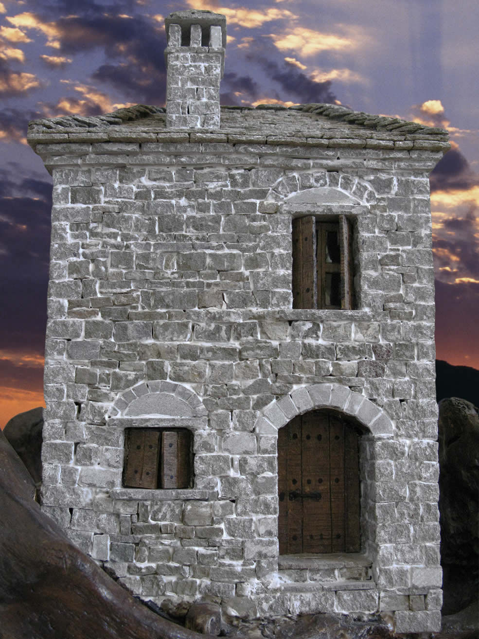 A scale model of a traditional stone built house in Konitsa