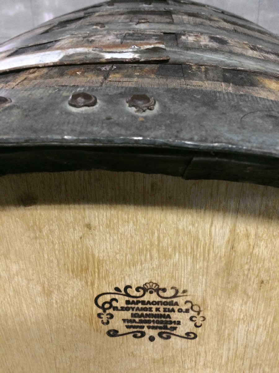 Locally made oak barrels, Basiles Ketas Biological Wine, Zitsa, Ioannina