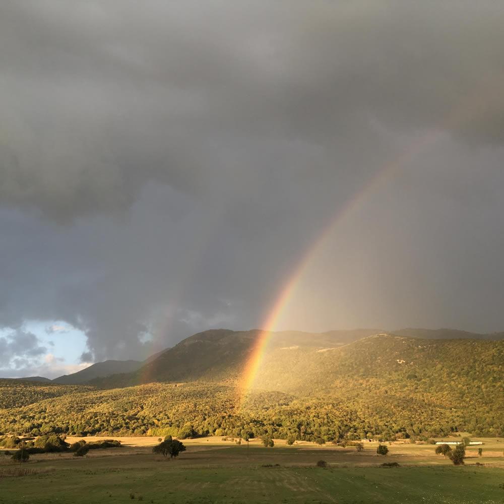 Double rainbow over Soudena (Pedina) valley in Zagori
