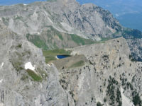 Dragon lake from gamila peak in Vikos Aoos Geopark