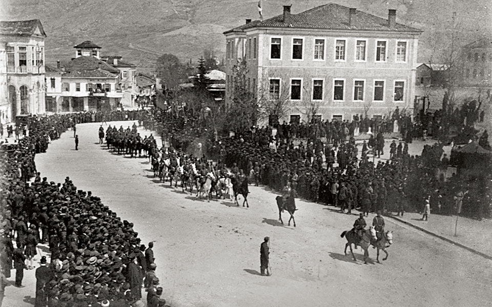 Ioannina, February 21, 1913. Nissim Levis captures the historic moment when the first Greek armed forces paraded into the city of Ioannina following the unconditional surrender of the Ottoman ruler, Essat Pasha.