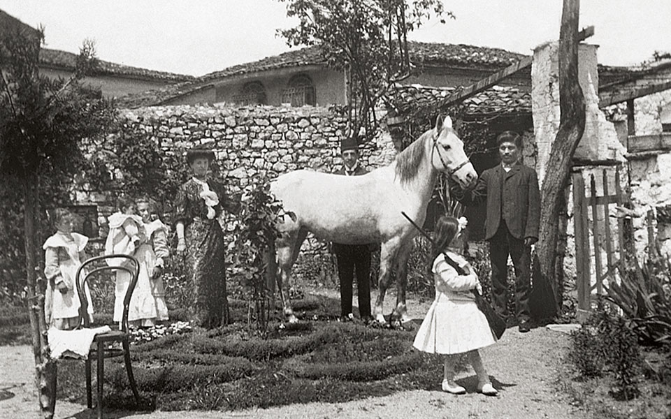 Ioannina, summer 1912. Members of the Levis family pictured in the back yard of their house. The little girl holding the gun is Hiette Levis, Nissim's niece and the author's grandmother.