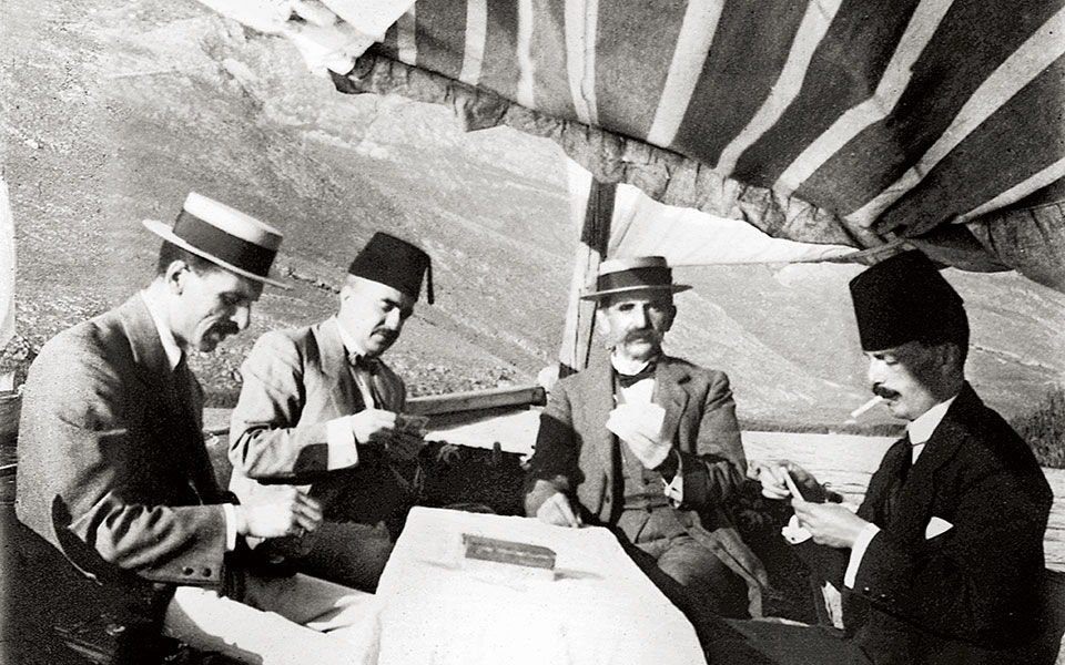 Nissim's brother Matathioulis Levis (second from left) with friends on the lake.
